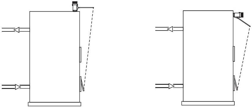 Пример горизонтальной и вертикальной установки регулятора тяги для твердотопливного котла HONEYWELL FR-124
