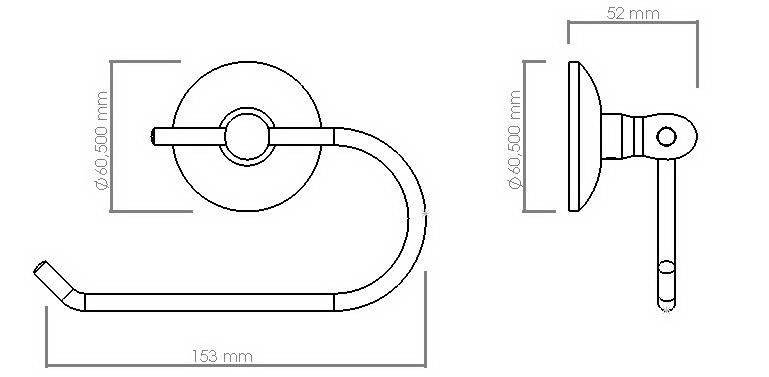 Схема размеров держателя туалетной бумаги без крышки хром VIYA