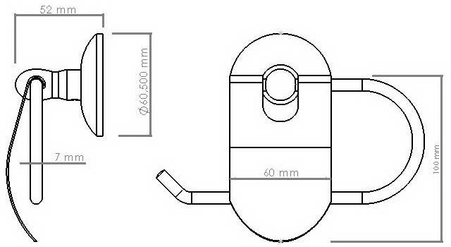 Схема размеров бумагодержателя туалетной бумаги с крышкой VIYA