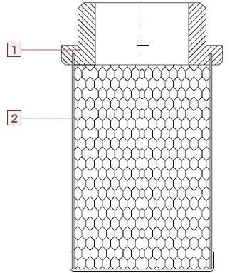 Рисунок в разрезе материалов деталей сетки-фильтра для обратных клапанов ITAP