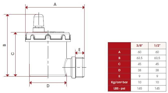 Схема автоматического воздухоотводчика углового ITAP