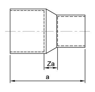 Схема размеров муфты редукционной медной Endex N1R/5240 для соединения медных труб рызных диаметром