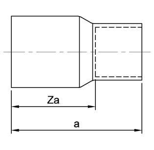 Схема общих размеров редуктора медного наружный-внутренний ASN6