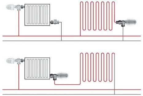 Схемы параллельное и последовательное подключение крана радиаторного прямого с термоголовкой ГЕРЦ-MINI