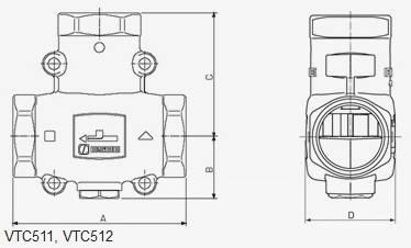 Размеры смесительного клапана ESBE VTC511 для твердотопливных котлов