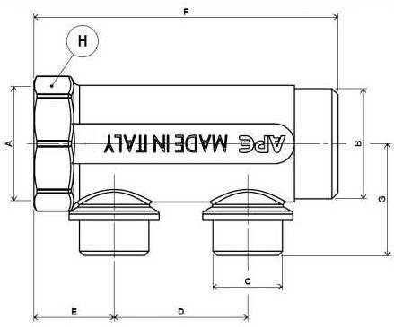 Схема размеров распределительного коллектора APE 500 без перекрывания