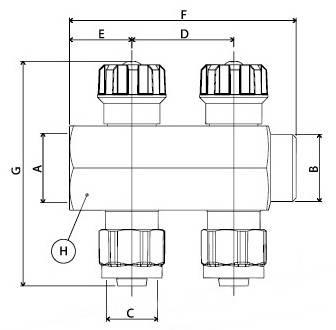 Схема размеров коллектора APE 880 с перекрыванием