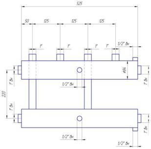 Схема размеров распределительного коллектора из нержавейки на 2 пары выходов
