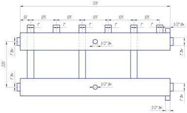 Схема размеров распределительного коллектора из нержавейки на 3 пары выходов