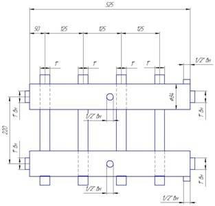 Схема размеров распределительного коллектора с нижним и верхним выходом на 4 отопительных контура