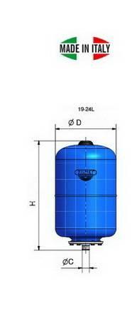 Схема гидроаккумуляторов Zilmet ULTRA-PRO вертикальных 19-24 литра
