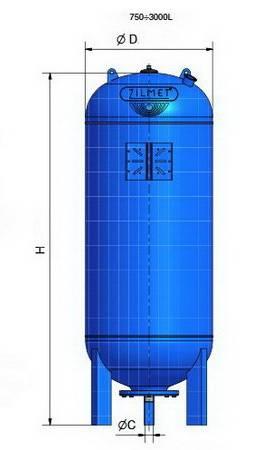 Схема гидроаккумуляторов Zilmet ULTRA-PRO вертикальных 750-3000 литра