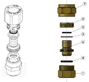 Схема в разборе компонентов муфты компрессионной с наружной резьбой APE