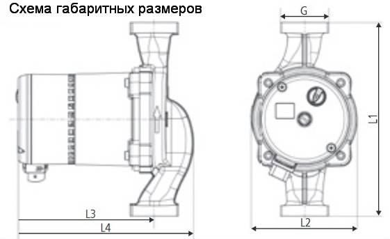 Схема габаритных размеров циркуляционного насоса HALM HEP Optimo