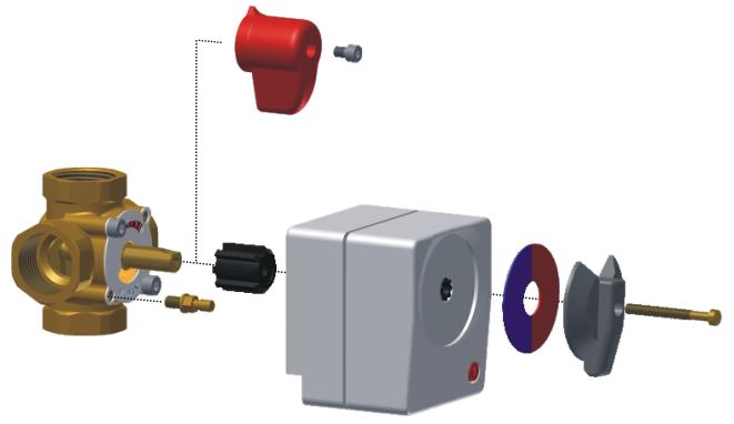 Монтаж привода MP 06, MP 10 на четырёхходовой смесительный клапан WOMIX MIX M4