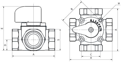 Схема размеров четырёхходового смесительного клапана WOMIX MIX M4