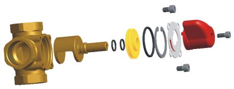 Конструкция в разборе четырёхходового смесительного клапана WOMIX MIX M4