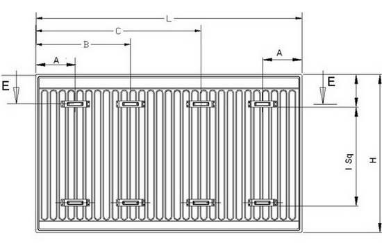 Схема монтажных размеров стальных радиаторов PANSA Тип 22 (PKKP)