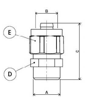 Схема размеров муфты компрессионной с наружной резьбой APE 701L