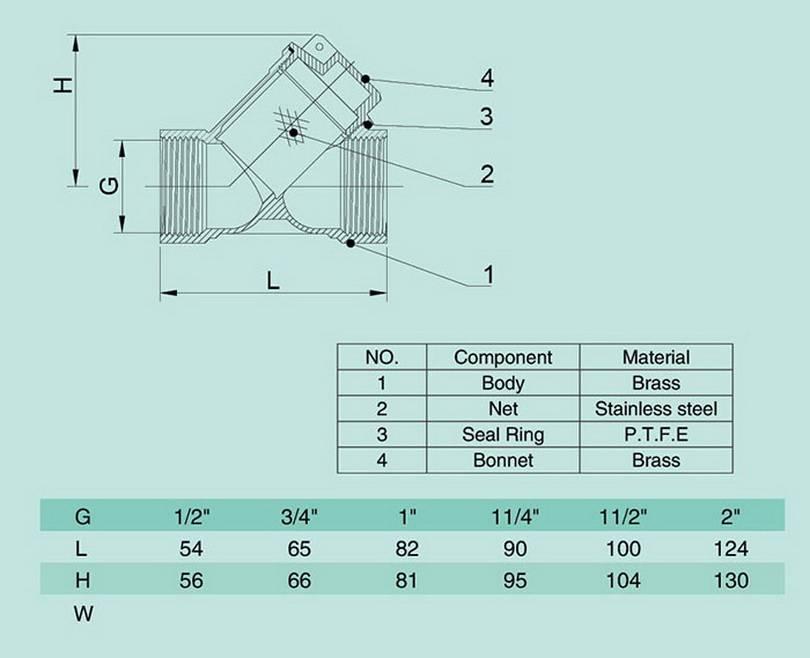 Схема размеров фильтра грубой очистки воды Wasser Warme