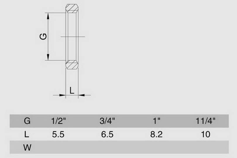 Схема размеров контргайки резьбовой хром латунной SMS1