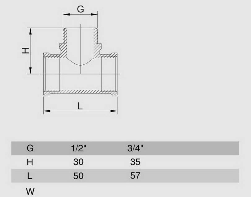 Схема размеров тройника переходного резьбового ВНВ SMS10