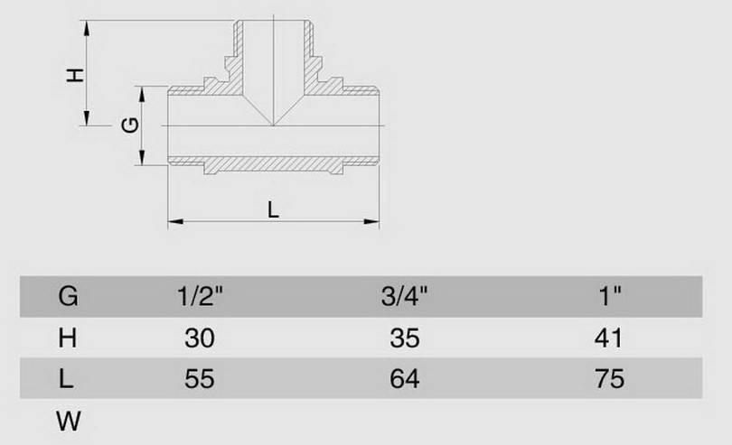 Схема размеров тройника резьбового наружного ННН латунь хром SMS12