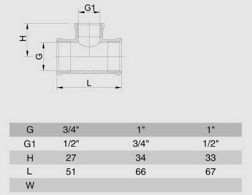 Схема размеров тройника редукционного резьбового ВВВ хром латунь SMS15