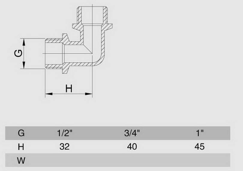 Схема размеров угла наружная резьба латунного хром НН SMS17