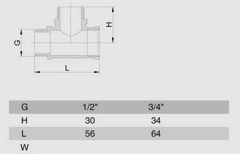 Схема размеров тройника переходного резьбового ВНН SMS19