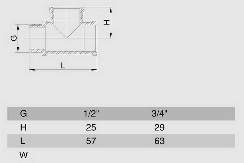 Схема размеров тройника переходного резьбового НВВ SMS23