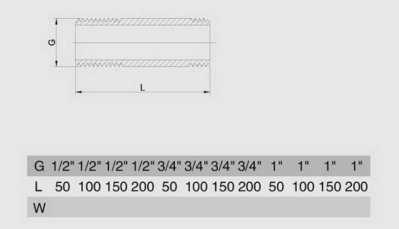 Схема размеров сгона резьбового латунного хромированного SMS25