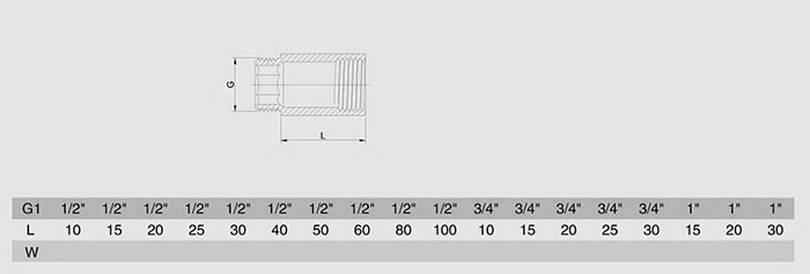 Схема размеров удлинителя резьбового латунного хромированного SMS28