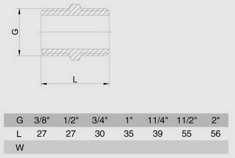 Схема размеров ниппеля резьбового SMS4 латунного хром