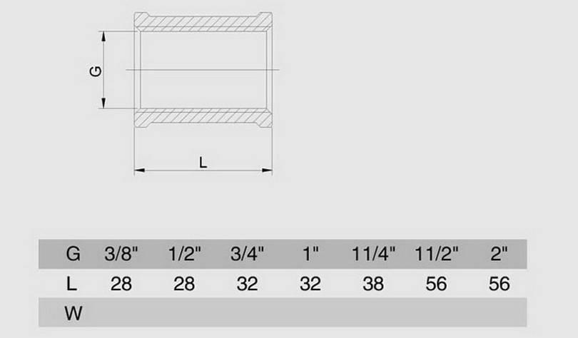 Схема размеров муфты сантехнической внутренняя резьба SMS6 латунь хром