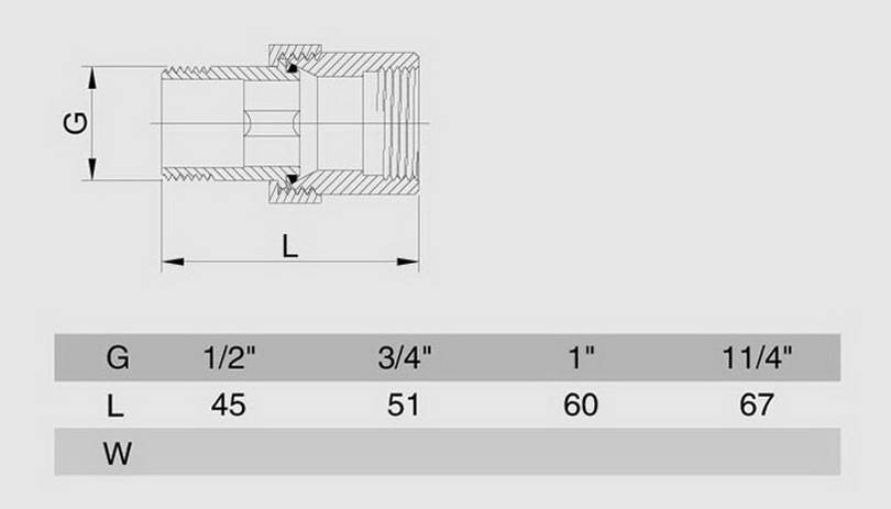 Схема размеров сгона американки прямой SMS7 хром латунь