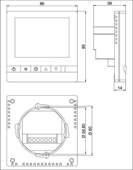 Размеры термостата комнатного с дисплеем Wasser Warme
