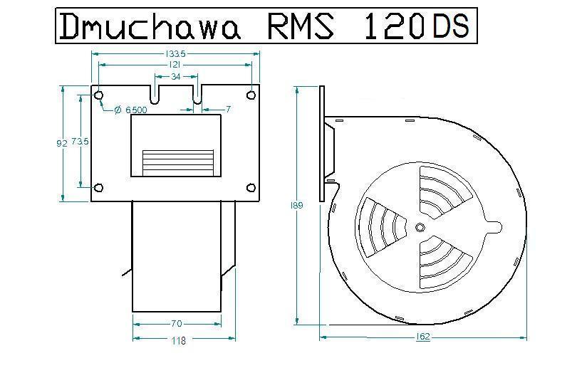 Схема размеров вентилятора RMS 120 DS