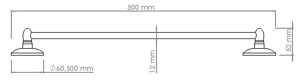 Изображение размеров полотенцедержателя одинарного длинного 50 см VIYA