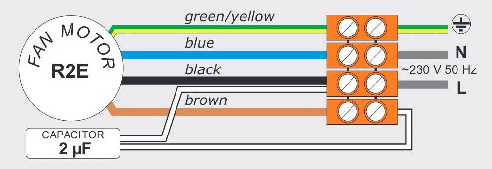 Схема подключения вентилятора WPA 120