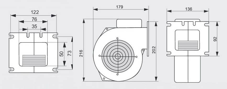 Размеры вентилятора WPA 120