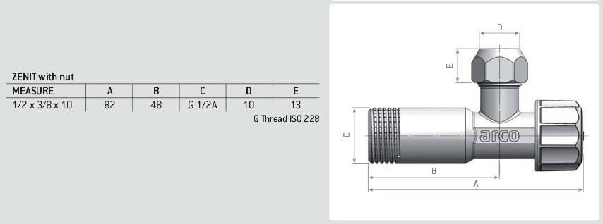 Схема размеров крана шарового вентильного ARCO ZENIT